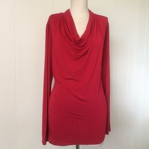 Red Soft Cowl Tee